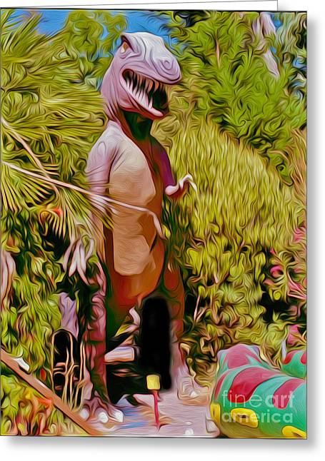 Gregory Dyer Greeting Cards - Mini-Golf T-Rex Greeting Card by Gregory Dyer