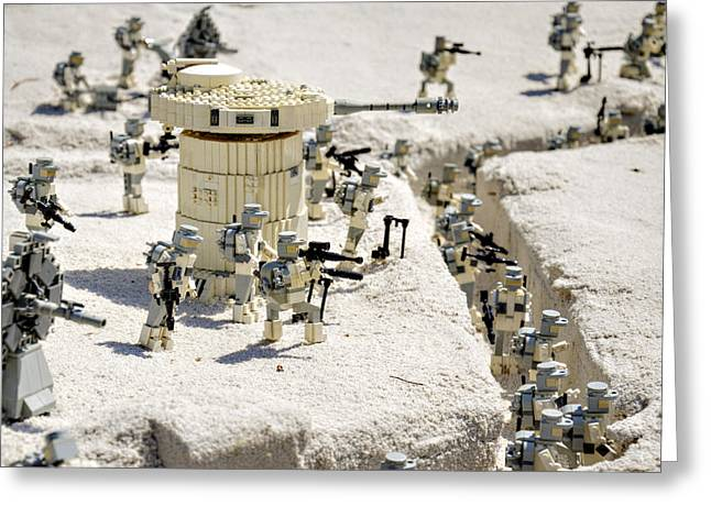 Lego Greeting Cards - Mini Hoth Battle Greeting Card by Ricky Barnard