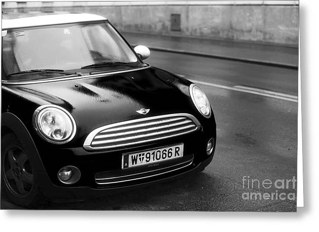 Cars In Winter Greeting Cards - Mini in Vienna Greeting Card by John Rizzuto