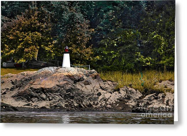 Toy Boat Greeting Cards - Mini lighthouse Greeting Card by Claudia Mottram