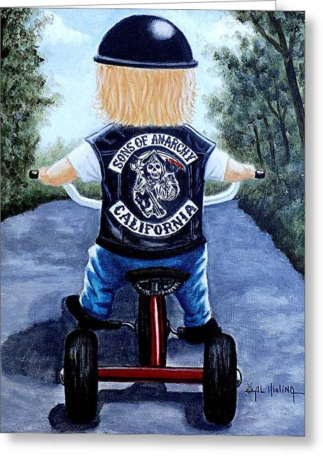 Sons Of Anarchy Greeting Cards - Mini Mayhem Greeting Card by Al  Molina