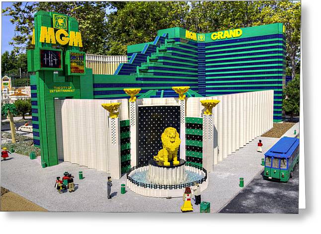 Lego Greeting Cards - Mini MGM Grand Greeting Card by Ricky Barnard