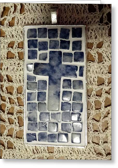 Mini Cross Jewelry Greeting Cards - Mini Mosaic Cross Pendant 5 Greeting Card by Kathleen Luther