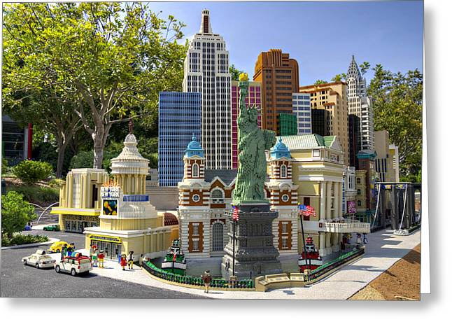 Lego Greeting Cards - Mini NYNY Casino Greeting Card by Ricky Barnard