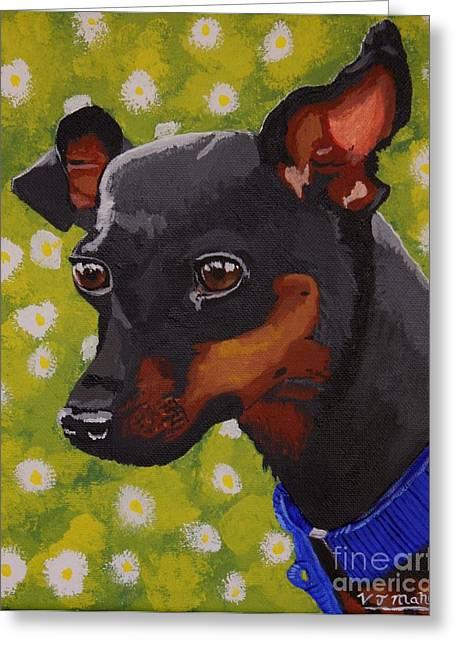 Doberman Pinscher Puppy Greeting Cards - Mini Pinscher  Greeting Card by Vicki Maheu