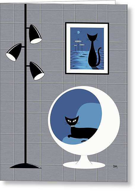 Black Cat Fantasy Greeting Cards - Mini Space Cat Greeting Card by Donna Mibus