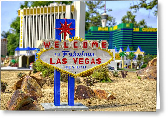 Lego Greeting Cards - Mini Vegas Greeting Card by Ricky Barnard