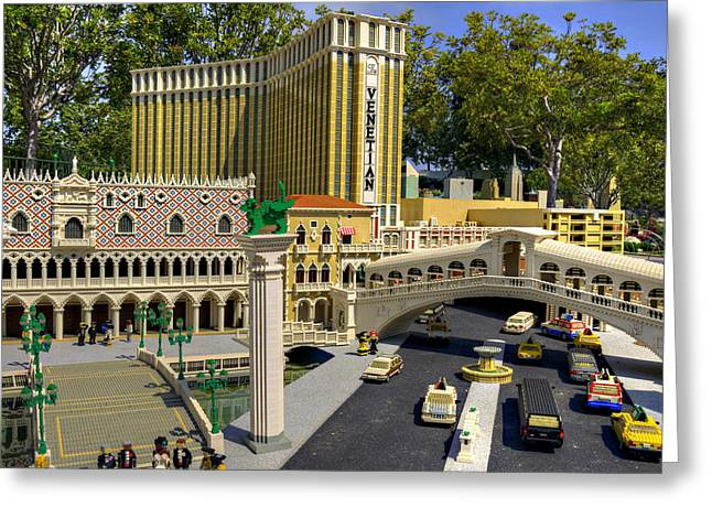 Lego Greeting Cards - Mini Venetian Greeting Card by Ricky Barnard