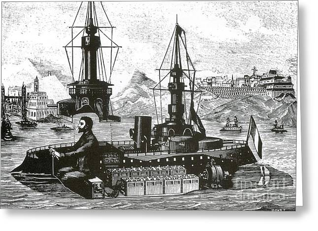 Warship Drawings Greeting Cards - Miniature Amusement Park Warship, 1899 Greeting Card by Science Source