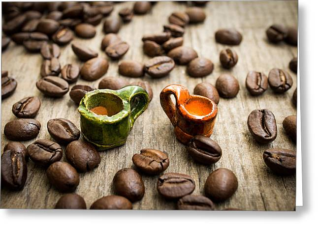 Pause Greeting Cards - Miniature coffee cups Greeting Card by Aged Pixel