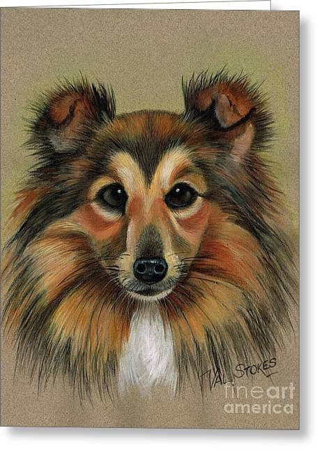 Spunky Greeting Cards - Miniature Collie Greeting Card by Val Stokes