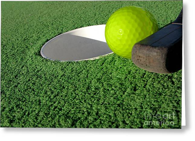Turf Greeting Cards - Miniature Golf Greeting Card by Olivier Le Queinec