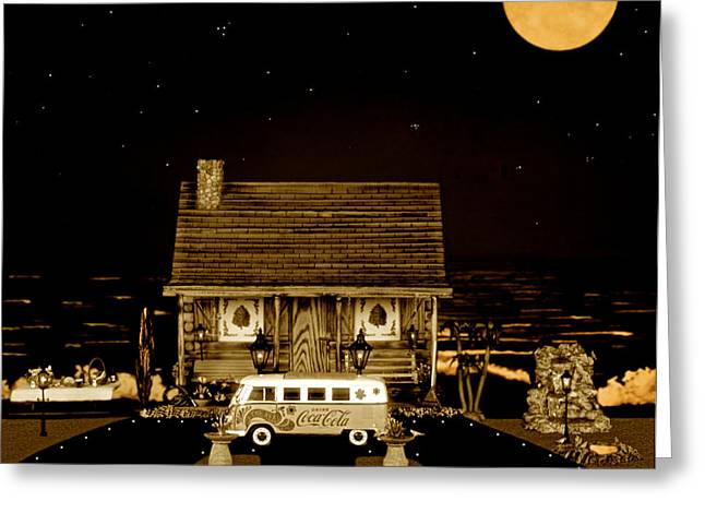 Power Plants Greeting Cards - Miniature Log Cabin Scene With Old Vintage Classic 1962 Coca Cola Flower Power V.w. Bus In Sepia  Greeting Card by Leslie Crotty
