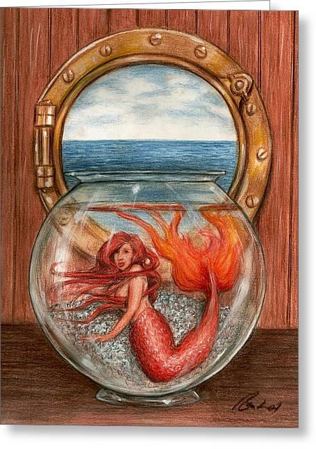 Miniature Mermaid Greeting Card by Bruce Lennon