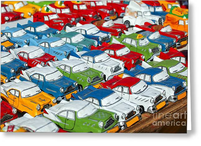Papier Mache Greeting Cards - Miniature oldsmobiles Greeting Card by Patricia Hofmeester