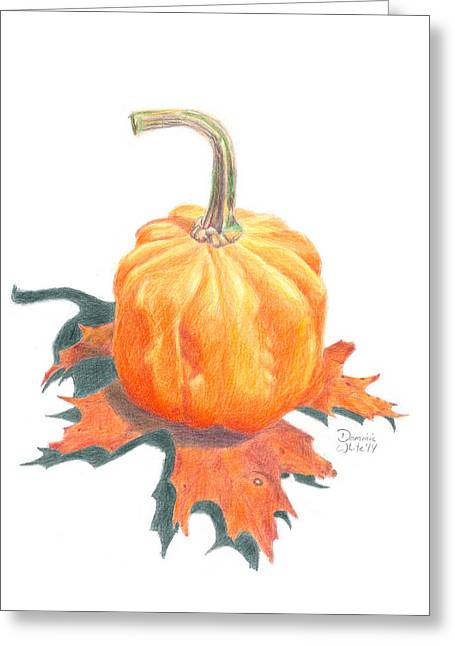 Oak Leaf Drawings Greeting Cards - Miniature Pumpkin on Oak Leaf Still Life Greeting Card by Dominic White