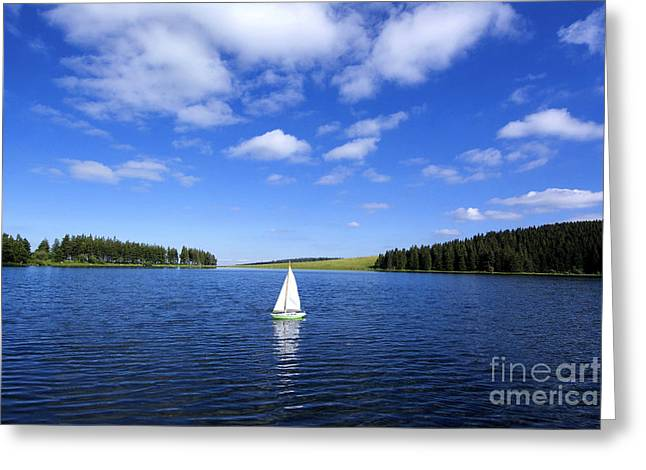Blue Sailboat Greeting Cards - Miniature sailboat in the middle of a lake Greeting Card by Bernard Jaubert