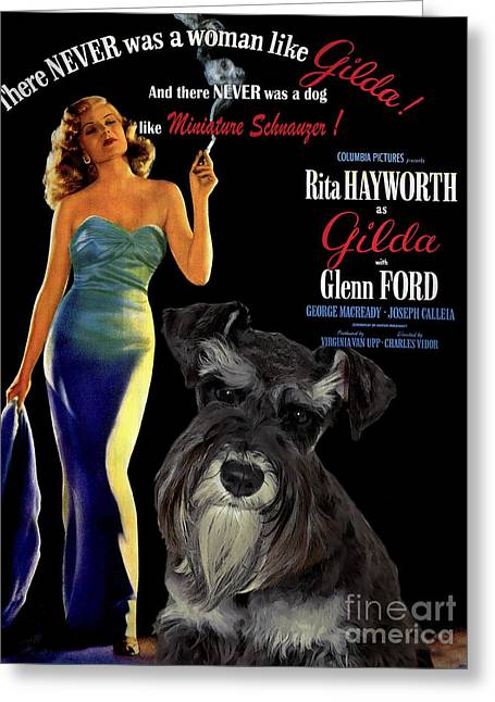 Schnauzer Art Greeting Cards - Miniature Schnauzer Art Canvas Print - Gilda Movie Poster Greeting Card by Sandra Sij