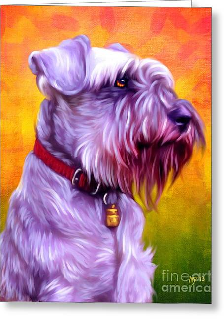 Cute Puppy Pictures Digital Art Greeting Cards - Miniature Schnauzer Pink Greeting Card by Iain McDonald