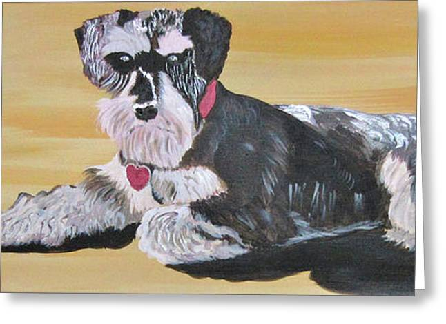 Breeds Greeting Cards - Miniature Schnauzer Greeting Card by Phyllis Kaltenbach