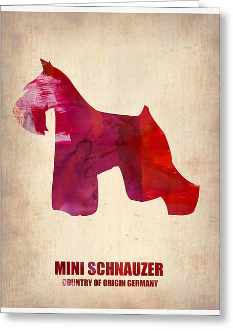 Cute Schnauzer Greeting Cards - Miniature Schnauzer Poster Greeting Card by Naxart Studio