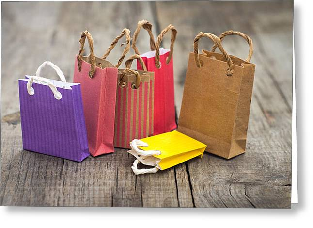 Miniature Shopping Bags Greeting Card by Aged Pixel