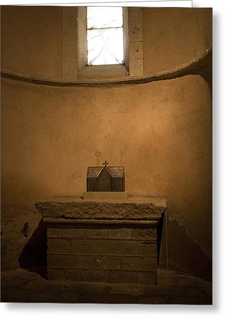 True Cross Greeting Cards - Miniature Templar Church Greeting Card by Lorraine Devon Wilke