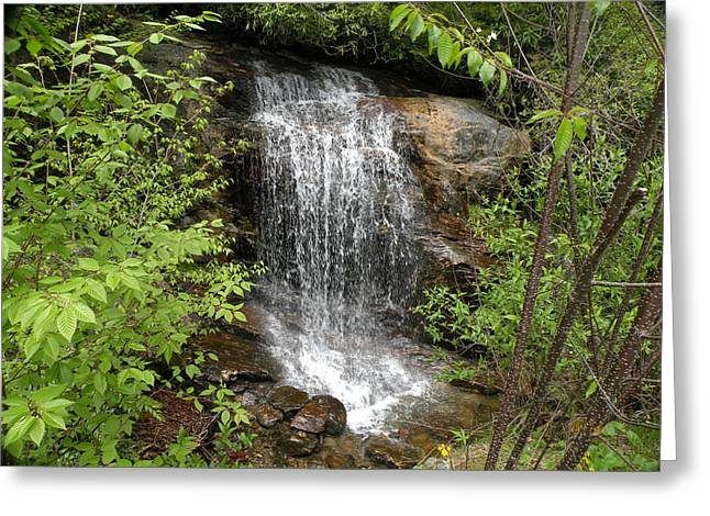 Becky Greeting Cards - Miniature Waterfall Greeting Card by Becky Erickson