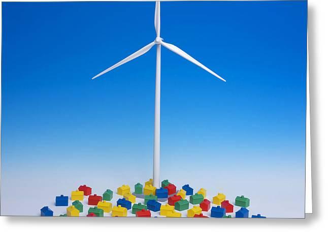 Toys Greeting Cards - Miniature wind turbine Greeting Card by Bernard Jaubert