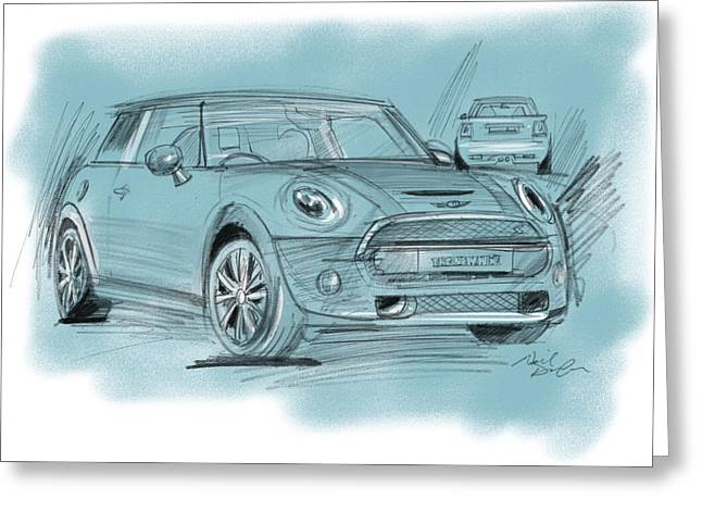 Mini Drawings Greeting Cards - MiniCooper Greeting Card by Neil Duffy