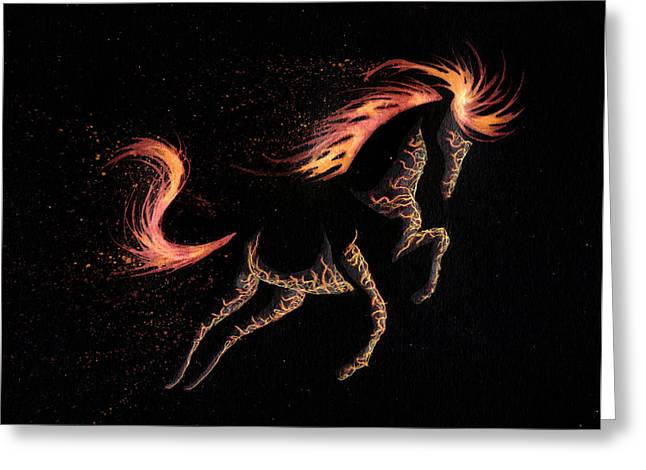 Ice And Warm Colors Greeting Cards - Minimal Abstract Inverted Fire Horse Greeting Card by Anila Tac