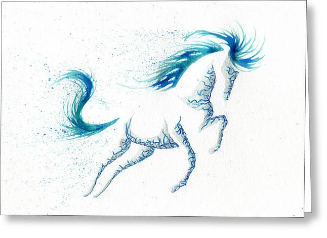 Horse In Water Paint Greeting Cards - Minimal Abstract Blue Ocean Breeze Horse Greeting Card by Anila Tac