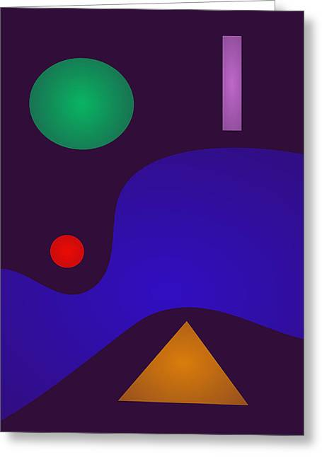 Gradations Digital Art Greeting Cards - Minimal Art Night Greeting Card by Masaaki Kimura
