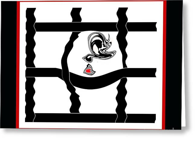 Introversion Greeting Cards - Minimalism Black White Red Art No.32. Greeting Card by Drinka Mercep