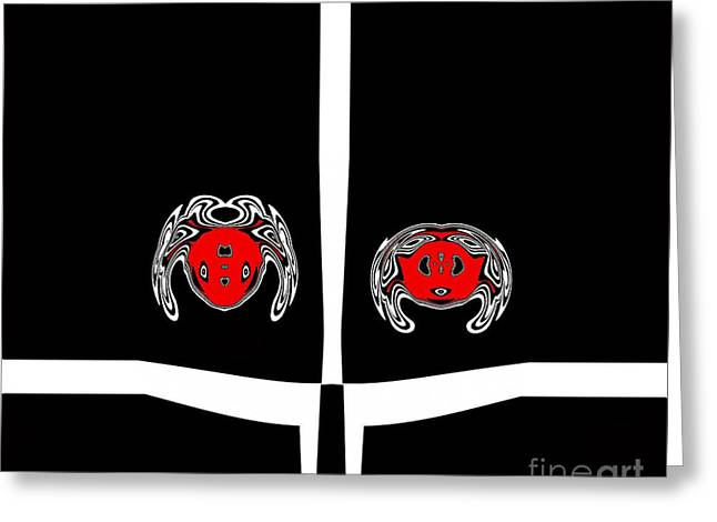 Introversion Greeting Cards - Minimalist Art Black White Red Print No.68. Greeting Card by Drinka Mercep