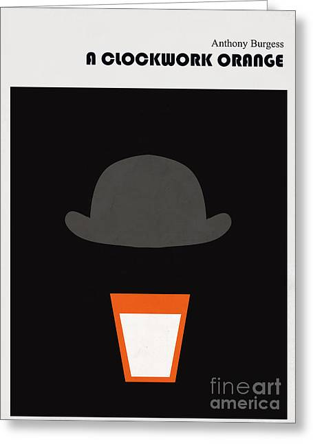 Contemporary Digital Greeting Cards - Minimalist book cover Anthony Burgess Clockwork orange Greeting Card by Budi Kwan