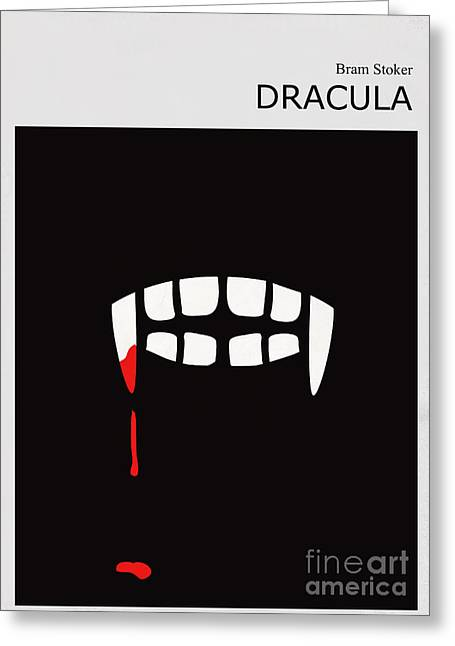 Contemporary Digital Greeting Cards - Minimalist Book Cover Bram Stoker Dracula Greeting Card by Budi Kwan