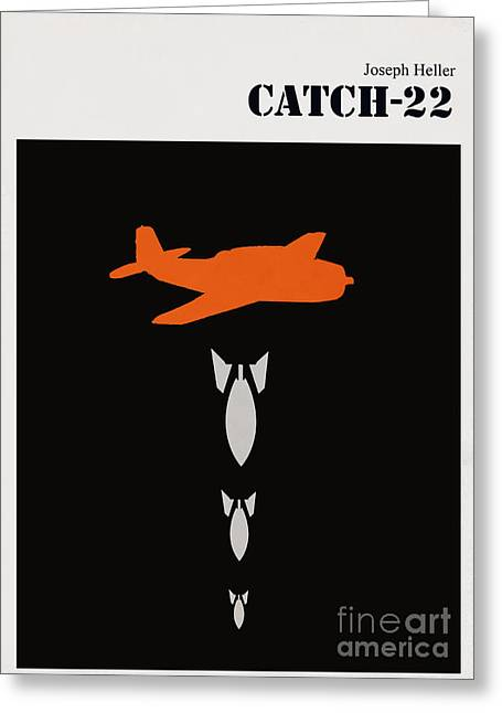 Literature Greeting Cards - Minimalist book cover Joseph Heller catch 22 Greeting Card by Budi Satria Kwan