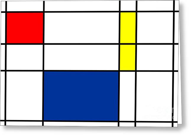 Abstractions Mixed Media Greeting Cards - Minimalist Mondrian Greeting Card by Adam Asar