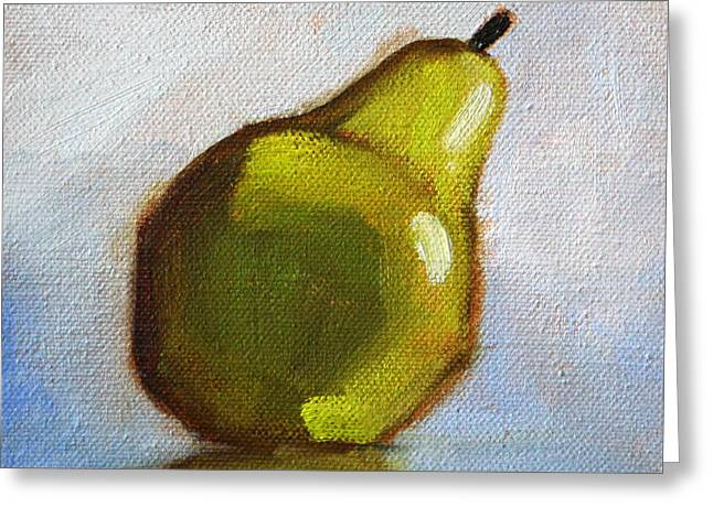 Kitchen Wall Greeting Cards - Minimalist Pear Painting Greeting Card by Nancy Merkle