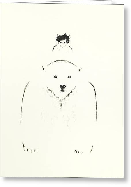 Winter Storm Drawings Greeting Cards - minimalist Polar Bear Greeting Card by Teresa Avellino