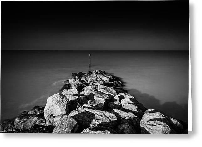 Calm Seas Greeting Cards - Minimalist Seascape Greeting Card by Ian Hufton
