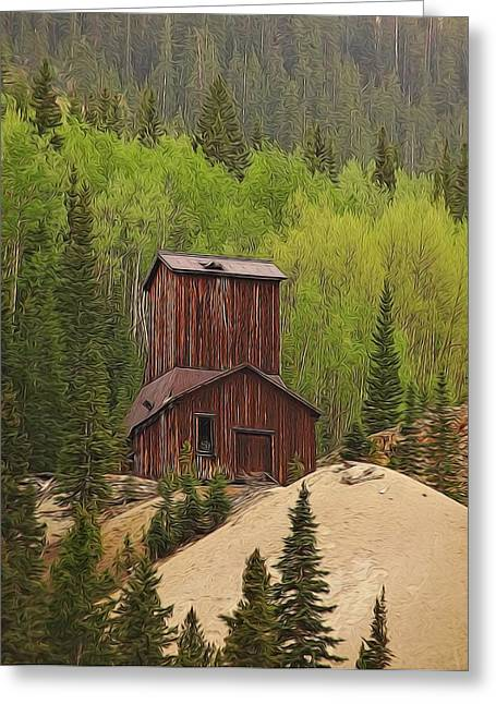 Town Mixed Media Greeting Cards - Mining Building In Colorado Greeting Card by Dan Sproul