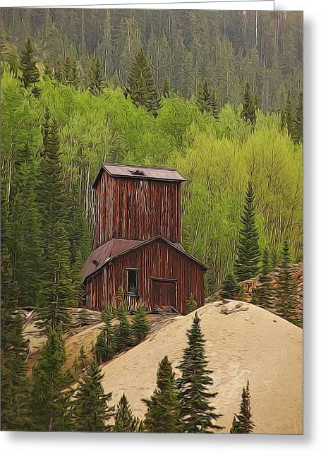 Old Town Mixed Media Greeting Cards - Mining Building In Colorado Greeting Card by Dan Sproul
