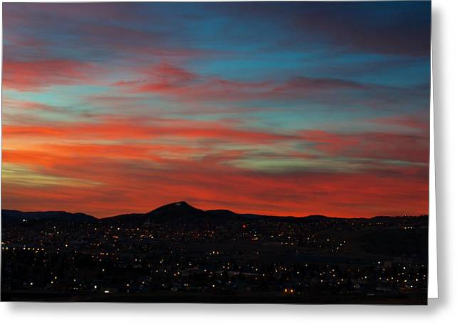 Sunset Posters Greeting Cards - Mining City Goodnight Greeting Card by Kevin Bone