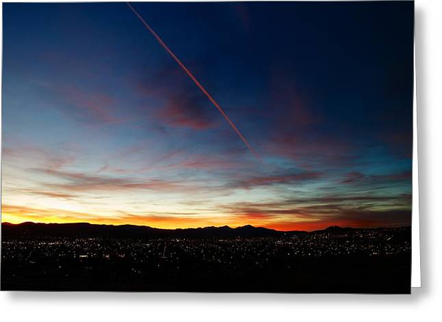 Mining City Sunset Greeting Card by Kevin Bone