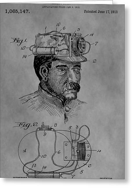 Mining Hat Patent Greeting Card by Dan Sproul