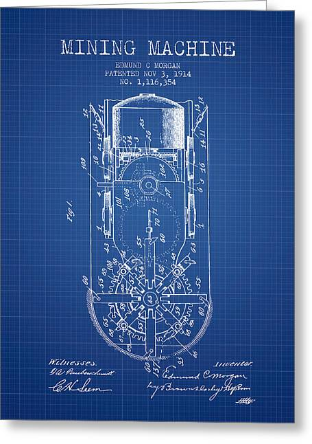Mine Greeting Cards - Mining Machine Patent From 1914- Blueprint Greeting Card by Aged Pixel