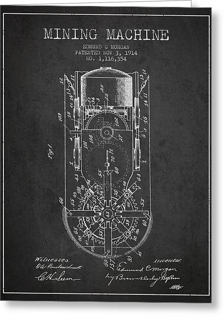 Mine Greeting Cards - Mining Machine Patent From 1914- Charcoal Greeting Card by Aged Pixel