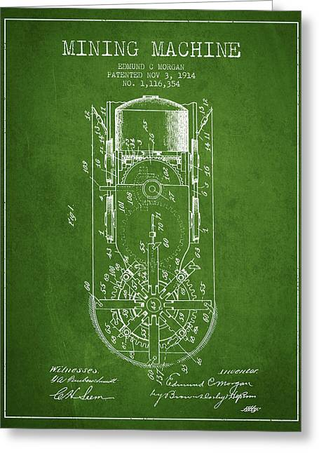 Gold Mines Greeting Cards - Mining Machine Patent From 1914- Green Greeting Card by Aged Pixel